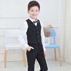 ราคา 4Pcs Set Boys Formal Suit Prom Funeral Wedding Suit Clothes Kids Boys Vest Shirts Pants Tie L17090 Black Intl ใน จีน