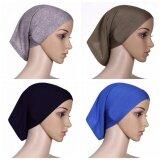 ทบทวน 【4Pcs】Q Shop Muslim Hijab Fabric Mercerized Soft Cotton Hijab Head Cover Inner Cap Thick Underscarf Women Underscarf Bonnet(Black Blue Grey Light Brown) Intl