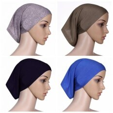 ซื้อ 【4Pcs】Q Shop Muslim Hijab Fabric Mercerized Soft Cotton Hijab Head Cover Inner Cap Thick Underscarf Women Underscarf Bonnet(Black Blue Grey Light Brown) Intl ใหม่