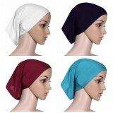 ทบทวน 【4Pcs】Q Shop Muslim Hijab Fabric Mercerized Soft Cotton Hijab Head Cover Inner Cap Thick Underscarf Women Underscarf Bonnet(Black White Light Blue Wine Red Intl