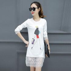 โปรโมชั่น เกาหลีสวมใส่ด้านนอกแขนยาวหลวมเสื้อเสื้อยืด 5000 สีขาว Unbranded Generic
