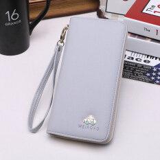 ขาย Weirong กระเป๋าสตางค์สตรีใบยาว มีซิบ สไตล์เกาหลี สีเทา 5032 รถยนต์รุ่น ฮ่องกง ถูก