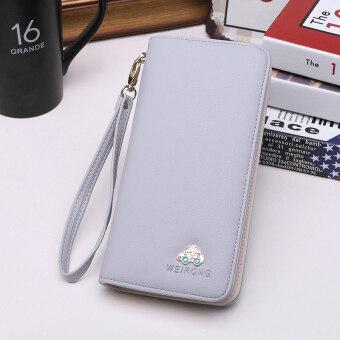 WEIRONG กระเป๋าสตางค์สตรีใบยาว มีซิบ สไตล์เกาหลี (สีเทา-5032 รถยนต์รุ่น)