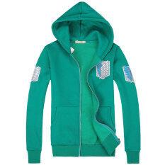 ขาย ซื้อ ออนไลน์ นารูโตะการ์ตูนบวกกำมะหยี่หญิงชายหนาแจ็คเก็ตเสื้อกันหนาว 590 สีเขียวผ่าพิภพไททัน