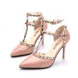 ทบทวน ที่สุด รองเท้าส้นสูง มีสายรัดข้อเท้าของผู้หญิง หัวกลม แต่งหมุดโลหะ สไตล์เกาหลี สีเทาชมพูอ่อน 8 ซม ส้นแพคเกจมาตรฐาน สีเทาชมพูอ่อน 8 ซม ส้นแพคเกจมาตรฐาน