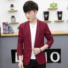 โปรโมชั่น เสื้อสูทผู้ชายสไตล์เกาหลี 629 ไวน์แดง ฮ่องกง