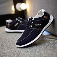 ส่วนลด รองเท้าเกาหลีรองเท้าผู้ชายบวกกำมะหยี่ชายหนุ่ม 6395 สีดำและสีฟ้า ฮ่องกง