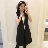 ขาย ซื้อ เกาหลีหญิงฤดูใบไม้ผลิและฤดูใบไม้ร่วงในส่วนยาวของชุดสูทเสื้อกั๊กเสื้อกั๊ก 6662 สีดำ