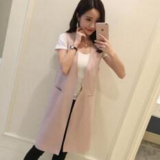 ราคา เกาหลีหญิงฤดูใบไม้ผลิและฤดูใบไม้ร่วงในส่วนยาวของชุดสูทเสื้อกั๊กเสื้อกั๊ก 6662 หนังสีชมพู Unbranded Generic