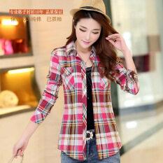 ขาย เกาหลีหญิงแขนยาวเสื้อเชิ้ตผ้าฝ้ายเสื้อลายสก๊อต 6685 8 Park S Hong ถูก