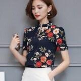 ราคา เสื้อชีฟอง พิมพ์ลายเส้นและลายดอกไม้คอตั้ง สไตล์สาวเกาหลี สีดำ 678 ปกยืนขึ้น สีดำ 678 ปกยืนขึ้น