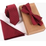 6Cm Silk Skinny Slim Neckite Handkerchief Bow Tie Set For Men Wedding Business Ties Jacquard Woven With Box Gift Wine Red Intl เป็นต้นฉบับ