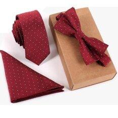 ขาย 6Cm Silk Skinny Slim Neckite Handkerchief Bow Tie Set For Men Wedding Business Ties Jacquard Woven With Box Gift Wine Red Intl ออนไลน์ ใน จีน