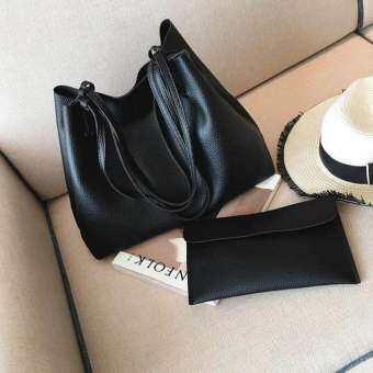 7-fifteen กระเป๋าสะพายแฟชั่นเกาหลี กระเป๋าสตางค์ผู้หญิง กระเป๋าสะพายข้าง เซ็ต2ใบ No.10011(Brown)