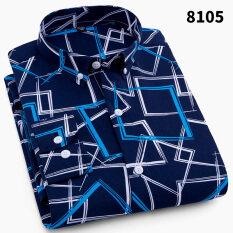 ซื้อ ลำลองสีฟ้าและสีขาวชายแขนยาวหลวมเสื้อลายเสื้อ 8105 ถูก ใน ฮ่องกง