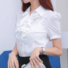 ขาย เกาหลีหญิงแขนยาวบางอารมณ์ชีฟองเสื้อลูกไม้สีขาวเสื้อ 812 สีขาว แขนสั้น ถูก