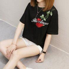 ราคา Xian Yuansu เสื้อยืดแขนสั้น แบบหลวม สไตล์ผู้หญิงเกาหลี 828 สีดำ 828 สีดำ ใหม่