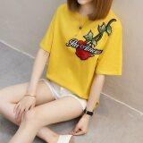 Xian Yuansu เสื้อยืดแขนสั้น แบบหลวม สไตล์ผู้หญิงเกาหลี 828 สีเหลือง 828 สีเหลือง ฮ่องกง