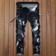 ขาย กางเกงเกาหลีกางเกงยีนส์ฤดูร้อนขอทานชาย 8921 สีดำ ราคาถูกที่สุด