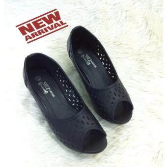 8am รองเท้าส้นเตารีดเปิดหน้า รุ่น 1a7050 สีดำ+1ไซส์จากปรกติ