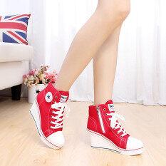 ราคา ผู้หญิงผู้หญิงรองเท้ารองเท้าสูงส้นเท้าลิ่มเสื้อถักขึ้นรองเท้าผ้าใบผ้าใบ8ซม H Intl ออนไลน์