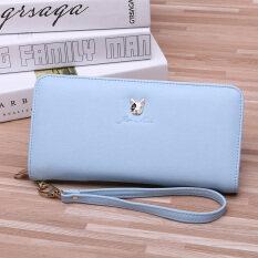 ขาย Weirong กระเป๋าสตางค์สตรีใบยาว มีซิบ สไตล์เกาหลี สีฟ้า 9011 รุ่นลูกสุนัข ฮ่องกง