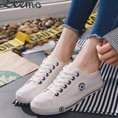 ซื้อ รองเท้าผ้าใบผู้หญิง 9108 สีขาวขอบดำ Leemo ถูก