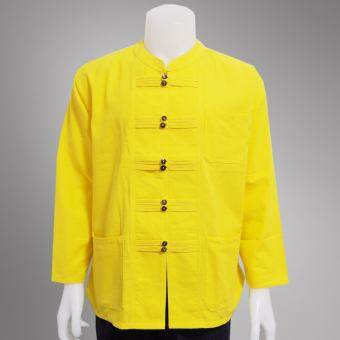 เสื้อสีเหลือง ผ้าฝ้ายชินมัย ชาย งานฝีมือเกรด A