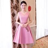 ซื้อ แฟชั่นสีชมพูสลิมเป็นบางชุดราตรีชุดเพื่อนเจ้าสาว A วรรคสีชมพู 522