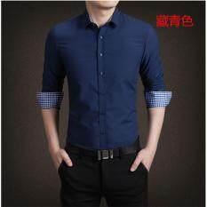 ราคา เสื้้อเชิ๊ตแขนยาว พับแขนมีลายสก๊อตด้านใน ทรงพอดีตัว มี 2 สีให้เลือก สีแดงเลือดหมู และสีน้ำเงินเข้ม ราคาถูกที่สุด