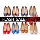 โปรโมชั่น A Flat Sheep Leather Ballerinas Black รองเท้าบัลเล่ห์หนังแกะเพื่อสุขภาพสีดำ Thailand Launched Flash Sale Thailand