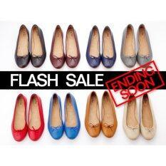 ราคา A Flat Sheep Leather Ballerinas Black รองเท้าบัลเล่ห์หนังแกะเพื่อสุขภาพสีดำ Thailand Launched Flash Sale ราคาถูกที่สุด