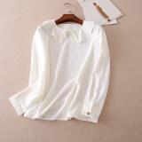 ราคา สง่างาม A617 เสื้อเวอร์ชั่นเกาหลี Flounced ฤดูใบไม้ร่วงใหม่ สีขาว ราคาถูกที่สุด