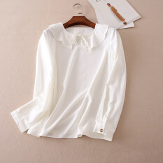 โปรโมชั่น สง่างาม A617 เสื้อเวอร์ชั่นเกาหลี Flounced ฤดูใบไม้ร่วงใหม่ สีขาว Thailand