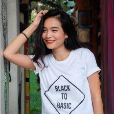 โปรโมชั่น Abocius T Shirt เสื้อยืดคอกลม แขนสั้น สกรีน Cotton รุ่น Black To Basic Ab018 สีขาว ไทย