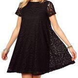 Acecharming Women Hollow Lace Crochet Short Sleeve Floral Party Mini Swing Dress Shirt Tops Black จีน