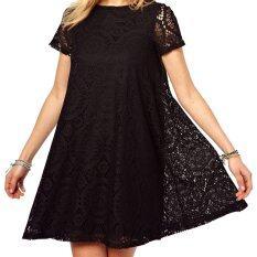 ราคา Acecharming Women Hollow Lace Crochet Short Sleeve Floral Party Mini Swing Dress Shirt Tops Black ใหม่