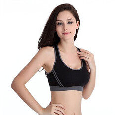 โปรโมชั่น อาภรณ์สตรีกีฬายิมโยคะชุดชั้นใน Racer เสื้อแอโรบิคเต้นรำเครื่องไส เสื้อกั๊กที่ถอดออกได้ สีดำ ถูก