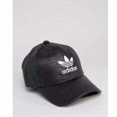 ซื้อ Adidas Originals Crackled Leather Logo Cap สีดำ ของแท้ Cracked Faux Leather ใหม่