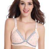ขาย Adjustable Bear Printed Front Button Lace Wireless Cotton Breast Feeding Bra For Women ถูก ใน จีน