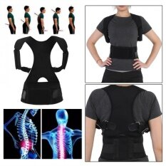 ซื้อ Adjustable Breathable Shoulder Brace Waist Belt Back Support Posture Corrector Black Intl ใหม่