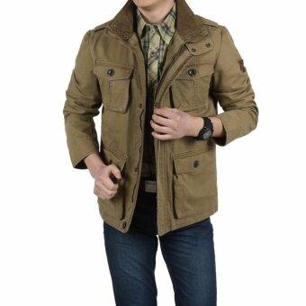 AFS รถจี๊ปชายกางเกงยีนเสื้อธุรกิจชายสบายๆฤดูหนาวเสื้อแจ็คเก็ตผ้าฝ้าย-สีกากี