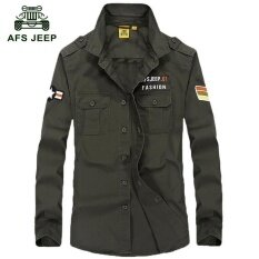 ราคา Afs Jeep Men Fashion Casual Large Color Long Sleeved Shirt Green Intl ออนไลน์