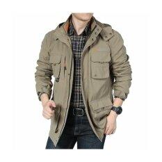ราคา ราคาถูกที่สุด Afs Jeep Men Spring And Autumn Jacket Men Leisure Long Section Of Large Size Outdoor Jackets Fashion Coat Khaki Intl