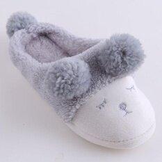 Ai Home Plush Sheep Women Soft Warm Indoor Slippers Cotton Sandal House Home Anti Slip Shoes Grey Intl เป็นต้นฉบับ