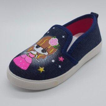 Alice Shoe รองเท้าเด็ก รองเท้าผ้าใบแฟชั่นแบบสวม เด็กผู้หญิงเด็กผู้ชาย รุ่นCV051-DBE(สีน้ำเงินเข้ม)