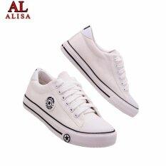ขาย ซื้อ ออนไลน์ Alisa Shoes รองเท้าผ้าใบแฟชั่น รุ่น 9108 White Black