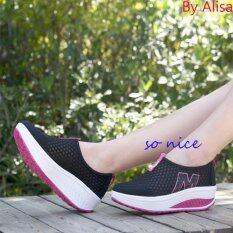 ราคา Alisa Shoes รองเท้าผ้าใบแฟชั่นComfort รุ่น 3308 Black ใน กรุงเทพมหานคร