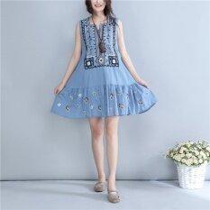ราคา ลม Alkylene ชุดเดรสผ้าฝ้ายวรรณกรรมฤดูร้อนใหม่ สีฟ้า ใหม่ล่าสุด