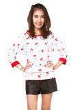 ขาย All About Fashionista เสื้อไหมอิตาลีลายเชอร์รี่ สีขาว ใน กรุงเทพมหานคร